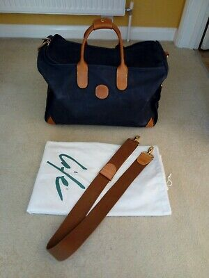 Fabulous Genuine Brics Holdall Travel Bag Navy & Tan Leather Trim & Strap Large • 49.99£