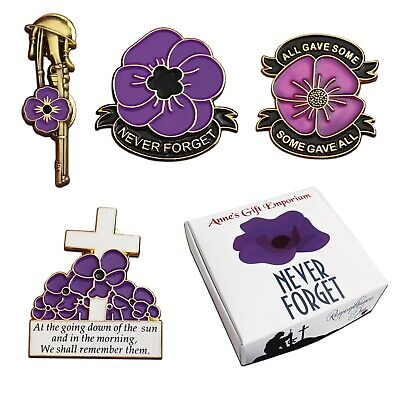 4x Large Purple Poppy Pin Badge SET Remembering Animals 10% Donated To RSPCA . • 7.50£
