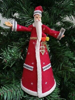 Stunning Gisela Graham Red Felt Santa Father Christmas Tree Topper - 18cm • 10.99£
