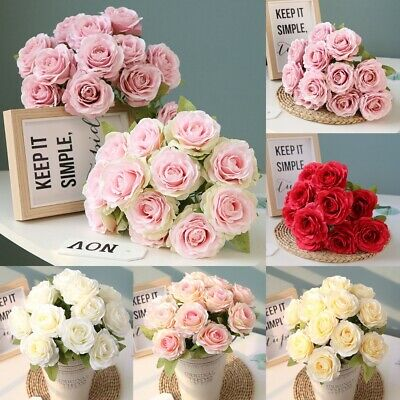 12Head Artificial Fake Silk Rose Flowers Bridal Bouquet Wedding Party Home Decor • 4.99£