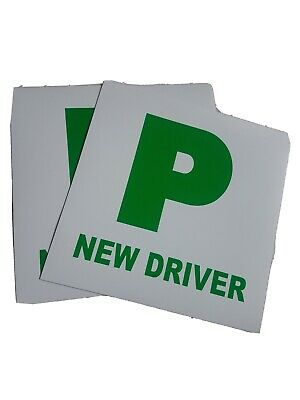 2 X FULLY MAGNETIC SECURE GREEN NEW DRIVER P PLATES JUST PASSED FOR CAR VEHICLE • 0.99£