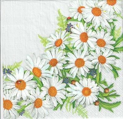 4 Single Paper Decoupage Napkins. Daisy, Flowers, Daisies , Flower -1060 • 1.40£