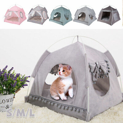 Pet Dog Cat Nest Bed Tent House Puppy Cushion Warm Comfy Sleeping Winter Fluffy • 9.49£