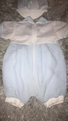 Baby Boy Clothes 6-12 Months Waffle Effect Boutique Suit With Matching Hat • 6£