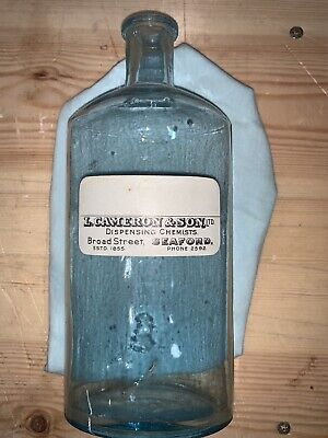 Vintage Blue Glass Chemists Bottle - Unmarked • 3£