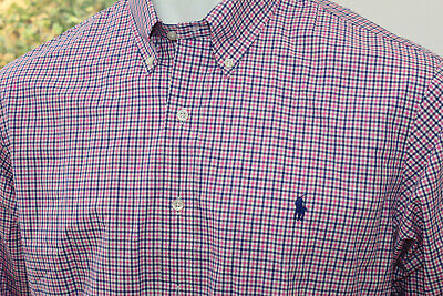 BNWT Mens Ralph Lauren Slim XL Shirt Smart Casual L/S Blue Pink Gingham Check  • 29.99£