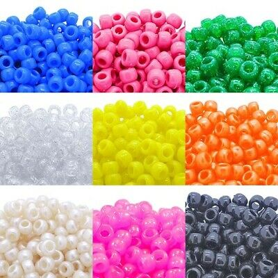 £1.75 • Buy 6x9mm Pony Beads 50 Colours X 100 Beads - Dummy Clips, Hair Braiding, Crafts