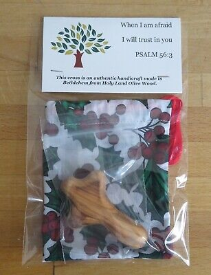 Wood Comfort Holding Cross 65x35mm Authentic Holy Land Holly Bag My Caring Cross • 3.25£