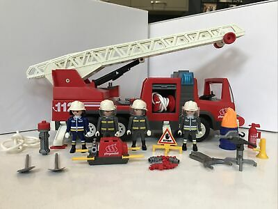 Playmobil Fire Engine Ladder 3182 4 Firefighters Tools Hose Pump • 9£