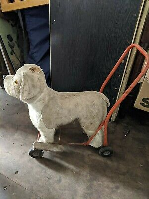 Lines Brothers Vintage Toy Push Along Dog • 60£
