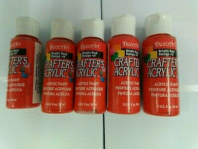 5 X  DecoArt Crafters Acrylic Paint Bright Red • 4.95£