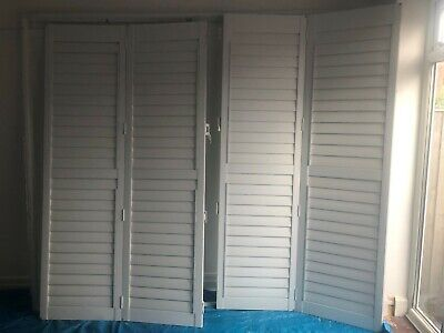 Gorgeous White Wooden Window French Patio Door Plantation Shutters • 60£