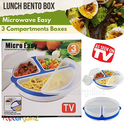 Microwave Bento Lunch Box 3 Compartments Kids Adult Food Container Storage Boxes • 5.95£