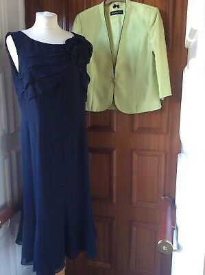Jacques Vert Size 14 Navy/Lime Dress And Jacket Wedding/Occasion • 60£
