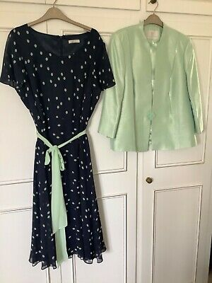 Jacques Vert Size 18 Mint Green/ Navy Dress And Jacket Wedding/Occasion • 70£