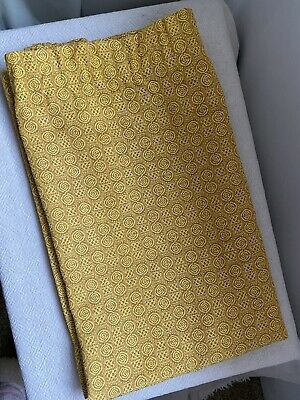 Vintage 70s Mustard Yellow Gold Spiral Curtains Drapes Fabric 2 Pairs 56  X 44  • 10£