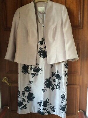 Jacques Vert Size 16 Champagne/Black Outfit Dress And Jacket Wedding/Occasion • 70£