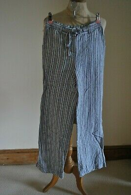 Boden Striped Blue White And Purple Wide Leg Linen Trousers UK 6 • 12.99£