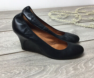 Lanvin Black Leather Wedge Heels Shoes Wedge Pumps 40 7 • 65£