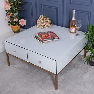 Large White Mirrored Coffee Table Rose Gold Unit Glass Venetian Home Furniture  • 16£