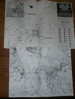 Simple Maps Of Keswick Town And District With Attractions Marked. 17  X12  Paper • 0.50£
