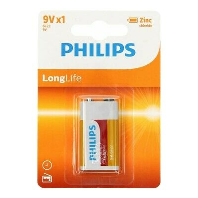 Philips Long Life 9V Zinc Chloride Battery 9 V Block PP3 6F22 Cell Batteries NEW • 1.48£