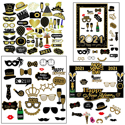 2021 New Year Eve Party Props Photo Booth Selfie Fun Photography Picture Decor • 8.05£