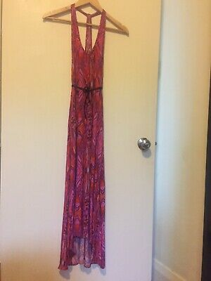 AU44 • Buy Witchery Tigerlily Silky Printed Deep Pink Maxi Dress With Pockets Size S 6-8-10