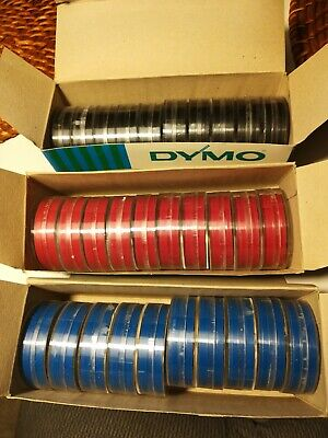 NOS Vintage Box Dymo Tape Magazines ForTapewriter Embossing Label Maker Red Blac • 18.99£