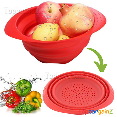 Collapsible Colander Silicone Fruit Vegetable Sieve Folding Food Strainer Basket • 3.98£