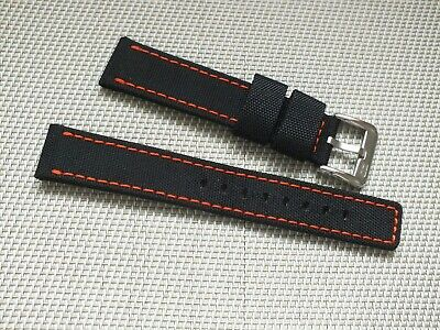 Canvas On Leather Watch Strap 20mm // Black By Zuludiver • 3.99£