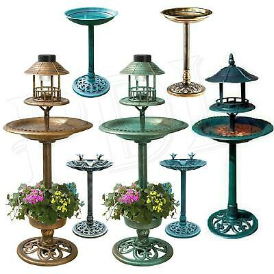 Bird Bath Feeder Bowl With Solar Light Garden & Patio Bird Feeding Table Station • 29.95£