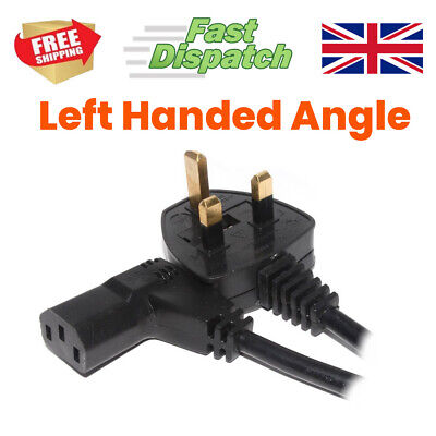Power Cord UK Plug To Right Angled IEC C13 Cable Kettle LEFT Or RIGHT Hand Angle • 5.99£