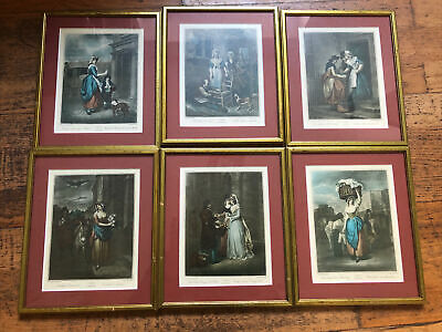 Set Of Six Small Cries Of London Vintage Framed Prints By F. Wheatley R.A. 1 • 49.99£