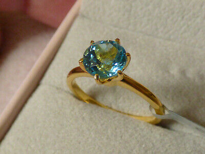 Swiss Blue Topaz Solitaire Ring Size N • 28£