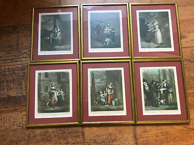 Set Of Six Small Cries Of London Vintage Framed Prints By F. Wheatley R.A. 2 • 49.99£