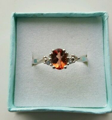 Sterling Silver Ring Andesine & Topaz Size 9 (R/S) • 30£