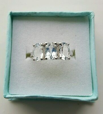 Stirling Silver Topaz Ring Size 7 (N/O) • 28£