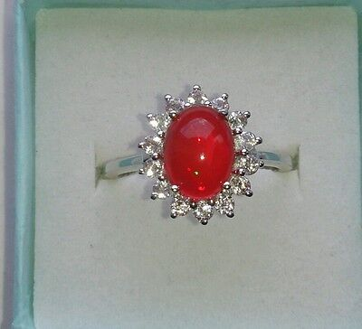 Stirling Silver Ring Cherry Opal & White Topaz Size 7 (N/O) • 35£