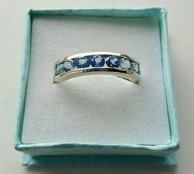 Stirling Silver Ring Swiss Blue Topaz Size 9 (R/S) • 28£