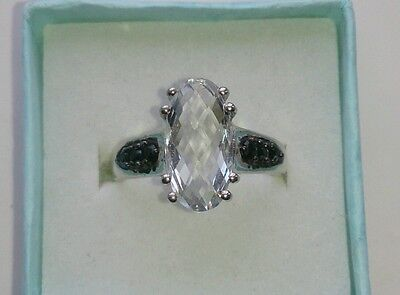 Stirling Silver Ring White Topaz & Black Spinel Size 7 (N/O) • 32£