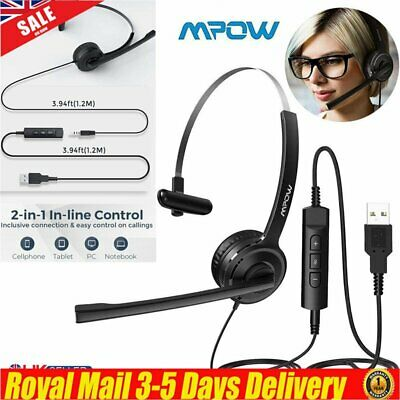 MPOW Wired Headset 3.5mm USB Computer PC Headphone Mic For Skype Driver Calling • 19.92£