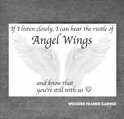 Beautiful White Angel Wings Canvas Picture  If I Listen Closely  Word Art #28 • 19.99£