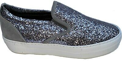 = Joshua Sanders SlipOn Sneakers Trainer Casual Womens Glittery Shoes Made Italy • 29.99£