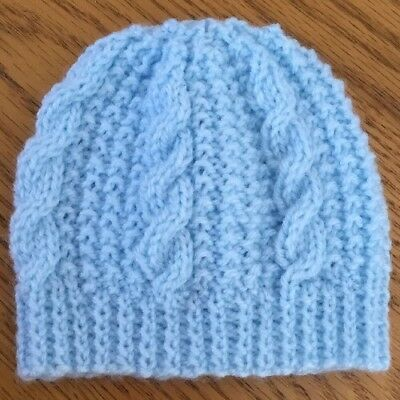 Hand Knitted Blue Cable Pattern Newborn Baby Hat • 3.59£