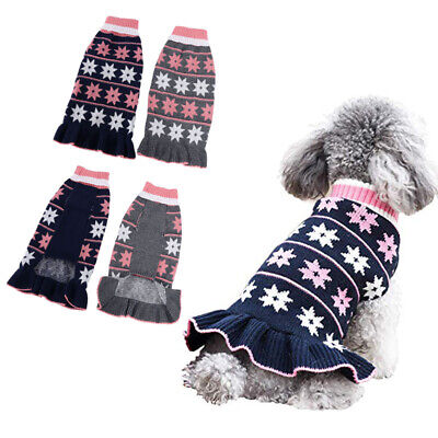 Pet Dog Cat Cute Knitted Sweater Dress Coat Puppy Winter Warm Costumes Outfit UK • 7.89£