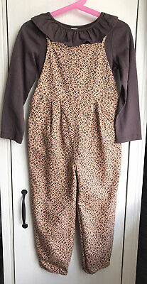 BNWT TU 3-4 Years Girl's Animal Print Dungarees Set With Top • 3.49£