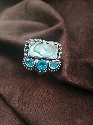 Abalone Shell And Blue Topaz Stone Ring Size 7.5 Statement Cocktail Chunky • 9.50£