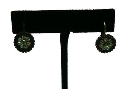 $ CDN6.47 • Buy LIA SOPHIA Signed Antiqued Bronze Yellow Blue Green Rhinestone Earrings