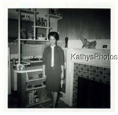 £5.07 • Buy Found B&w Photo G_3064 Young Woman Standing Next To A Tiled Fireplace
